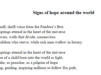 Signos de esperanza en todo el mundo